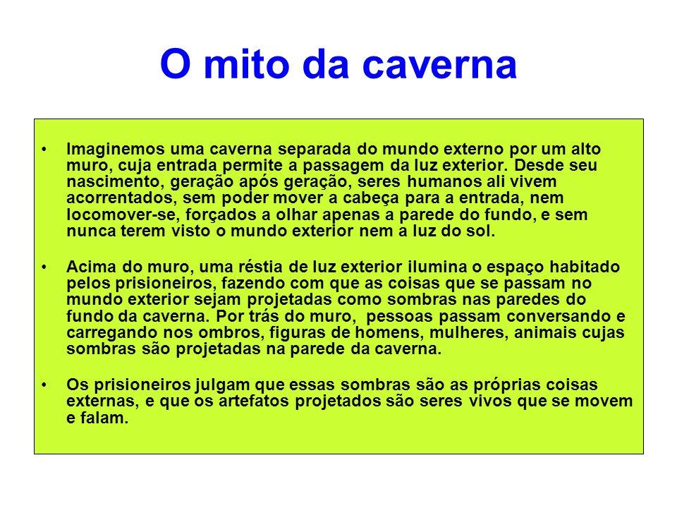 O mito da caverna Imaginemos uma caverna separada do mundo externo por um alto muro, cuja entrada permite a passagem da luz exterior. Desde seu nascim