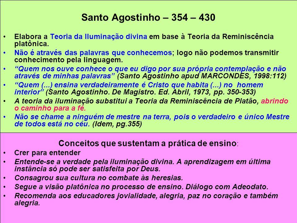 Santo Agostinho – 354 – 430 Elabora a Teoria da Iluminação divina em base à Teoria da Reminiscência platônica. Não é através das palavras que conhecem
