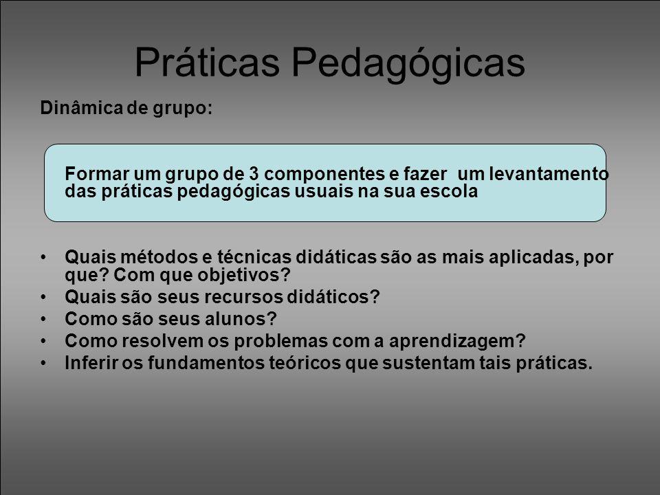 Práticas Pedagógicas Dinâmica de grupo: Formar um grupo de 3 componentes e fazer um levantamento das práticas pedagógicas usuais na sua escola Quais m