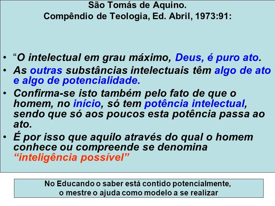 São Tomás de Aquino. Compêndio de Teologia, Ed. Abril, 1973:91: O intelectual em grau máximo, Deus, é puro ato. As outras substâncias intelectuais têm