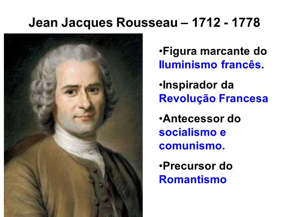 Jean Jacques Rousseau – 1712 - 1778 Figura marcante do Iluminismo francês. Inspirador da Revolução Francesa Antecessor do socialismo e comunismo. Prec