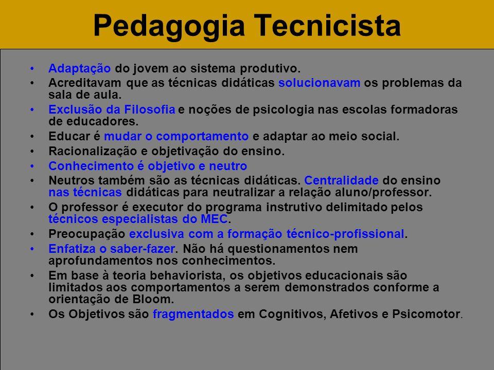 Pedagogia Tecnicista Adaptação do jovem ao sistema produtivo. Acreditavam que as técnicas didáticas solucionavam os problemas da sala de aula. Exclusã