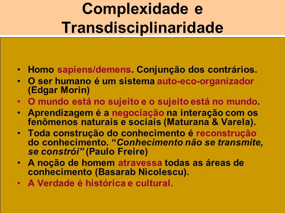 Complexidade e Transdisciplinaridade Homo sapiens/demens. Conjunção dos contrários. O ser humano é um sistema auto-eco-organizador (Edgar Morin) O mun
