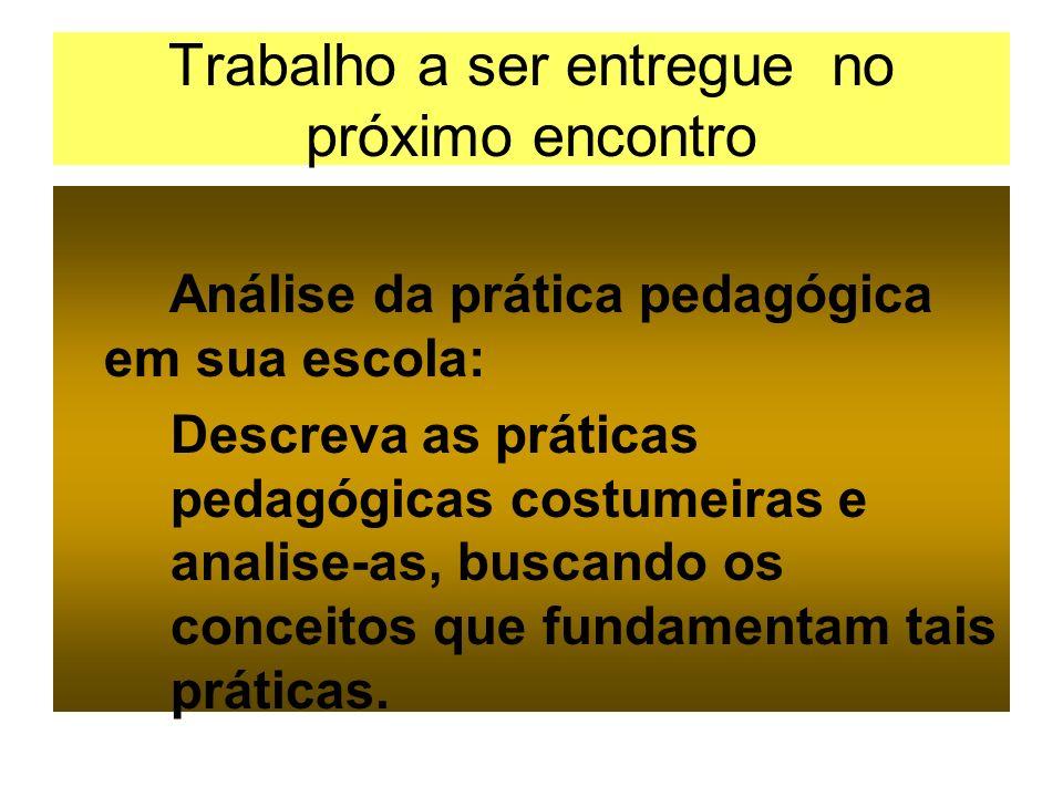 Trabalho a ser entregue no próximo encontro Análise da prática pedagógica em sua escola: Descreva as práticas pedagógicas costumeiras e analise-as, bu