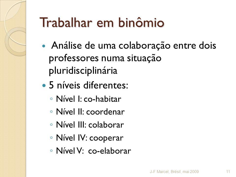 Trabalhar em binômio Análise de uma colaboração entre dois professores numa situação pluridisciplinária 5 níveis diferentes: Nível I: co-habitar Nível II: coordenar Nível III: colaborar Nível IV: cooperar Nível V: co-elaborar J-F Marcel, Brésil, mai 200911