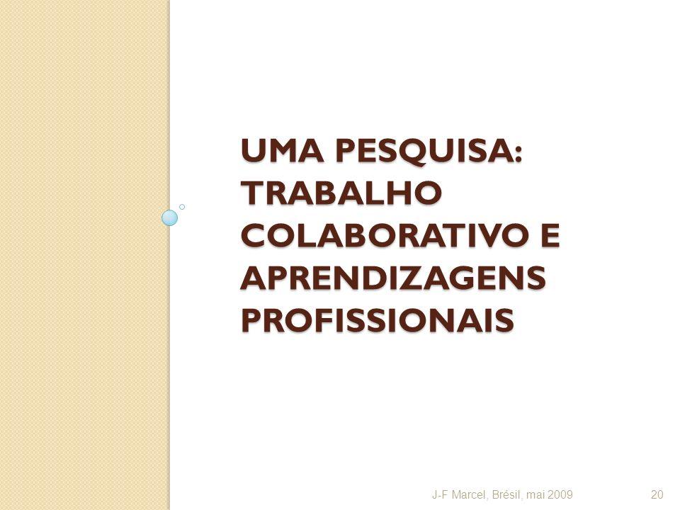 UMA PESQUISA: TRABALHO COLABORATIVO E APRENDIZAGENS PROFISSIONAIS J-F Marcel, Brésil, mai 200920