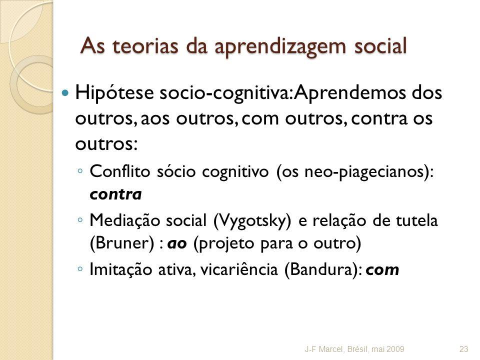 As teorias da aprendizagem social Hipótese socio-cognitiva: Aprendemos dos outros, aos outros, com outros, contra os outros: Conflito sócio cognitivo (os neo-piagecianos): contra Mediação social (Vygotsky) e relação de tutela (Bruner) : ao (projeto para o outro) Imitação ativa, vicariência (Bandura): com J-F Marcel, Brésil, mai 200923