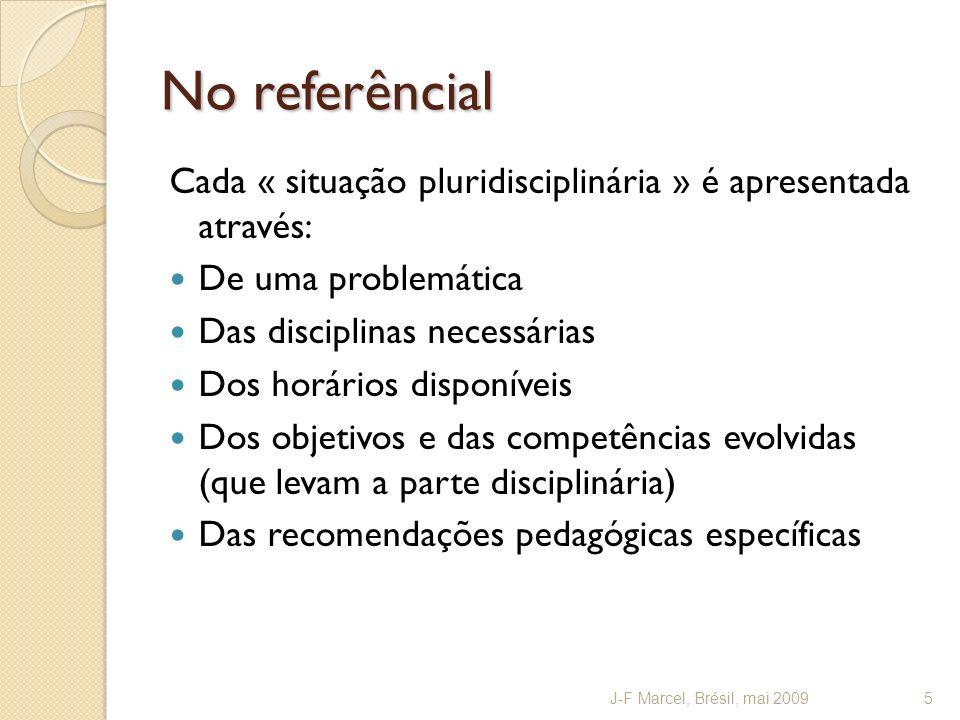 Nível V : co-elaborar A cooperação (nível pedagógico) é prolongada para uma co-elaboração envolvendo os conhecimentos (nível didático) O « refletir » depois o « fazer » junto permitem envolver e articular os diferentes conhecimentos disciplinários Esta articulação (nível didático) vai do dispositivo concreto (nível pedagógico) Função importante de uma co-avaliação (atestando a articulação dos conhecimentos) J-F Marcel, Brésil, mai 200916