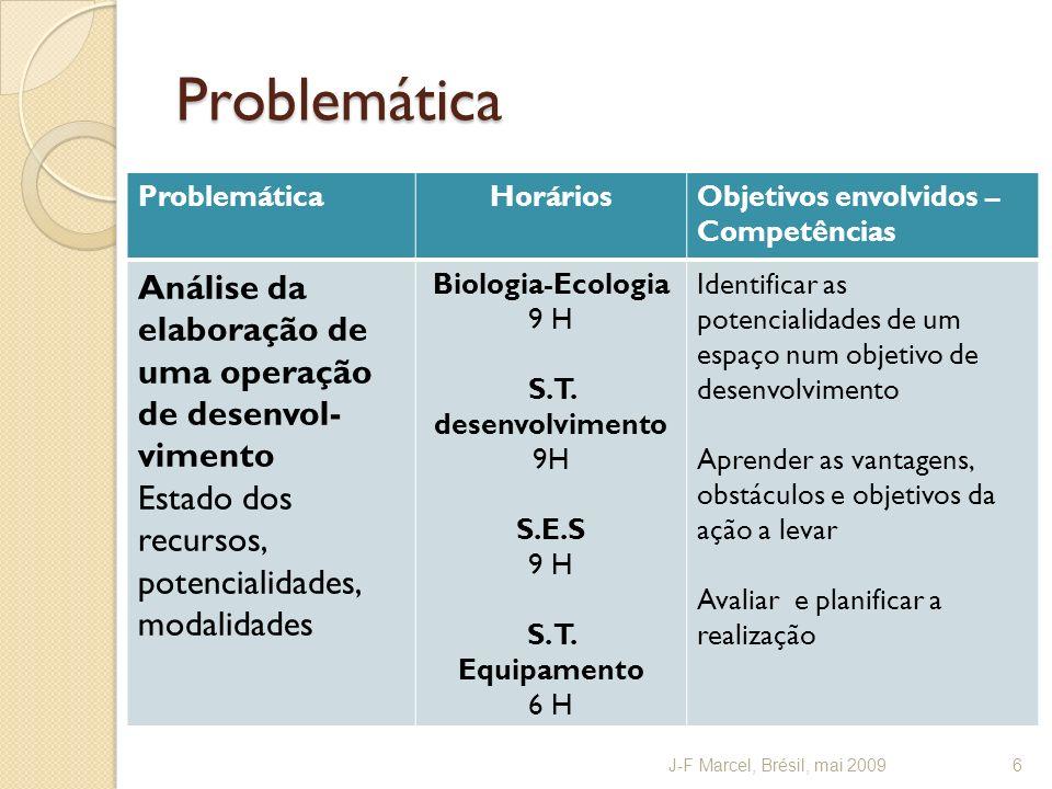 Problemática ProblemáticaHoráriosObjetivos envolvidos – Competências Análise da elaboração de uma operação de desenvol- vimento Estado dos recursos, potencialidades, modalidades Biologia-Ecologia 9 H S.T.