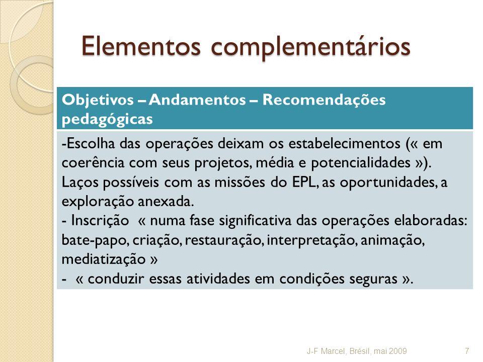 Elementos complementários Objetivos – Andamentos – Recomendações pedagógicas -Escolha das operações deixam os estabelecimentos (« em coerência com seus projetos, média e potencialidades »).