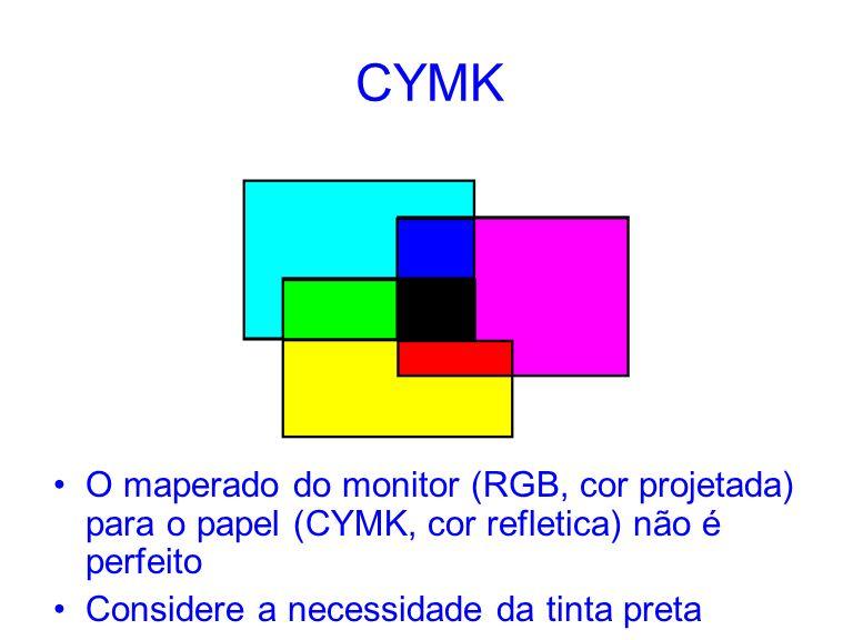 CYMK O maperado do monitor (RGB, cor projetada) para o papel (CYMK, cor refletica) não é perfeito Considere a necessidade da tinta preta