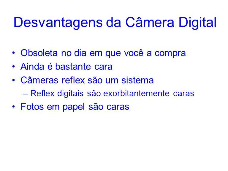 Desvantagens da Câmera Digital Obsoleta no dia em que você a compra Ainda é bastante cara Câmeras reflex são um sistema –Reflex digitais são exorbitan