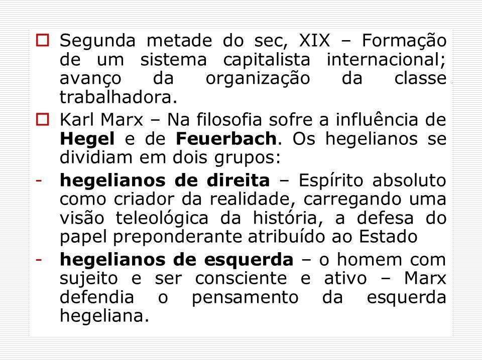 Segunda metade do sec, XIX – Formação de um sistema capitalista internacional; avanço da organização da classe trabalhadora. Karl Marx – Na filosofia