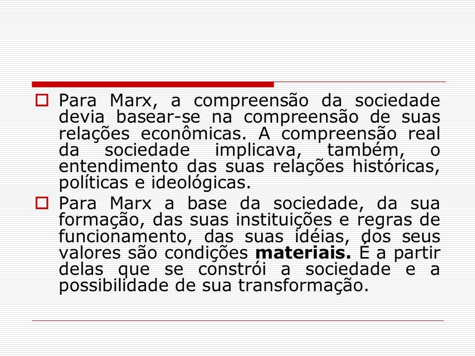 Para Marx, a compreensão da sociedade devia basear-se na compreensão de suas relações econômicas. A compreensão real da sociedade implicava, também, o