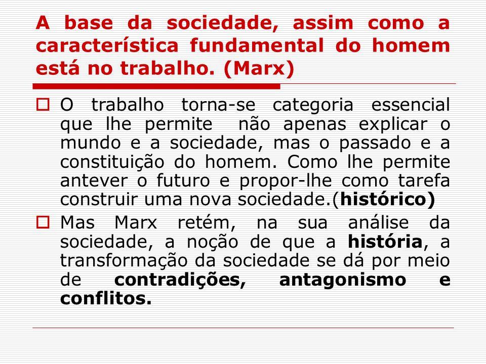 A base da sociedade, assim como a característica fundamental do homem está no trabalho. (Marx) O trabalho torna-se categoria essencial que lhe permite