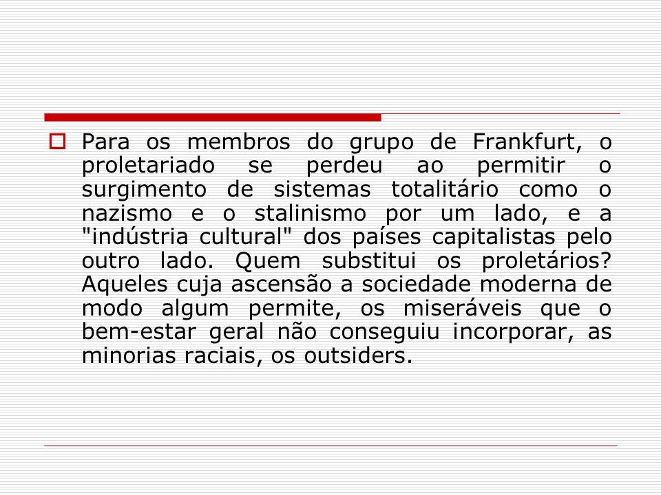 Para os membros do grupo de Frankfurt, o proletariado se perdeu ao permitir o surgimento de sistemas totalitário como o nazismo e o stalinismo por um