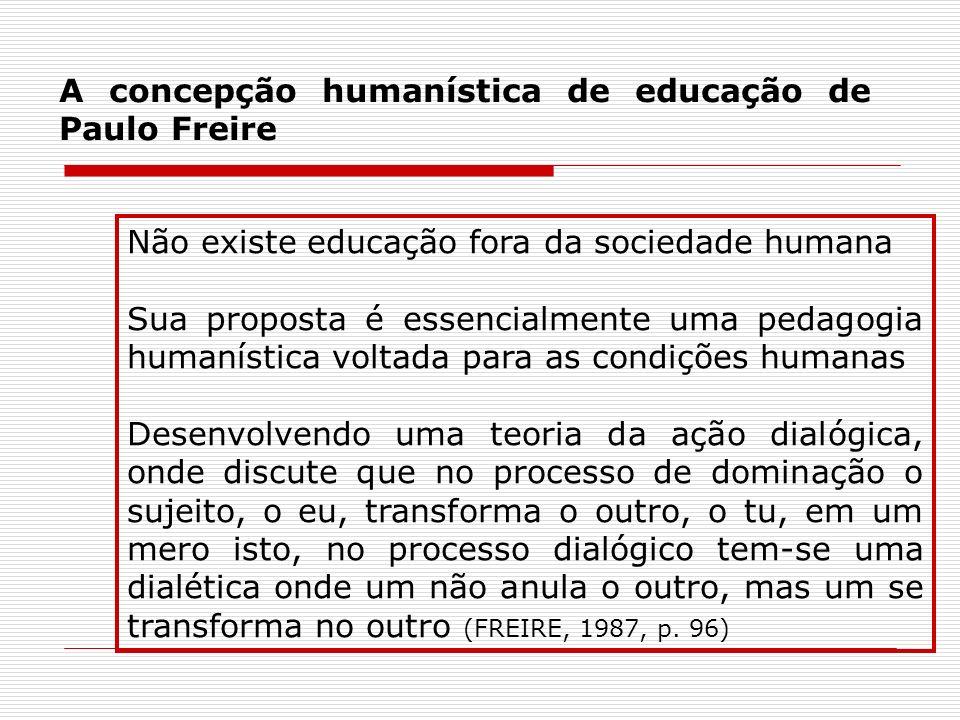 A concepção humanística de educação de Paulo Freire Não existe educação fora da sociedade humana Sua proposta é essencialmente uma pedagogia humanísti