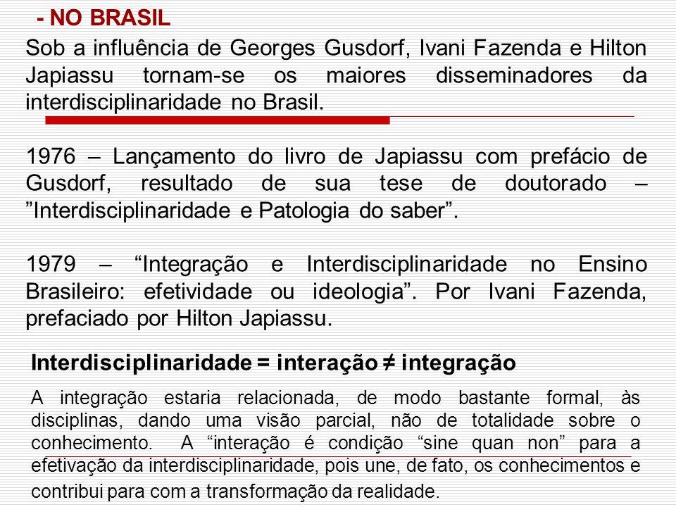 Sob a influência de Georges Gusdorf, Ivani Fazenda e Hilton Japiassu tornam-se os maiores disseminadores da interdisciplinaridade no Brasil. 1976 – La