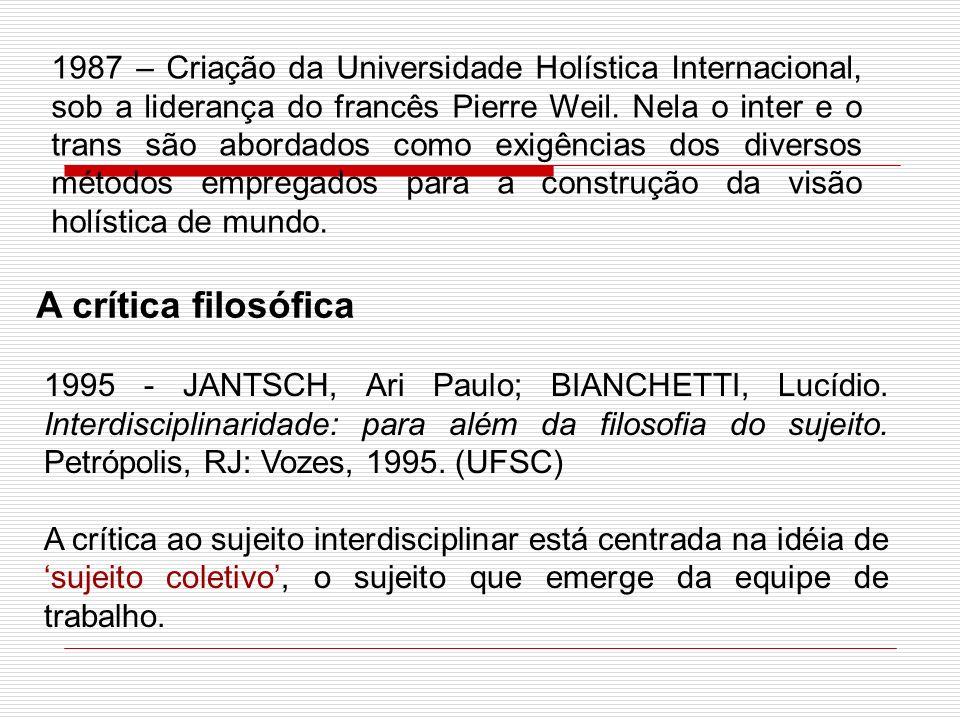 A crítica filosófica 1995 - JANTSCH, Ari Paulo; BIANCHETTI, Lucídio. Interdisciplinaridade: para além da filosofia do sujeito. Petrópolis, RJ: Vozes,