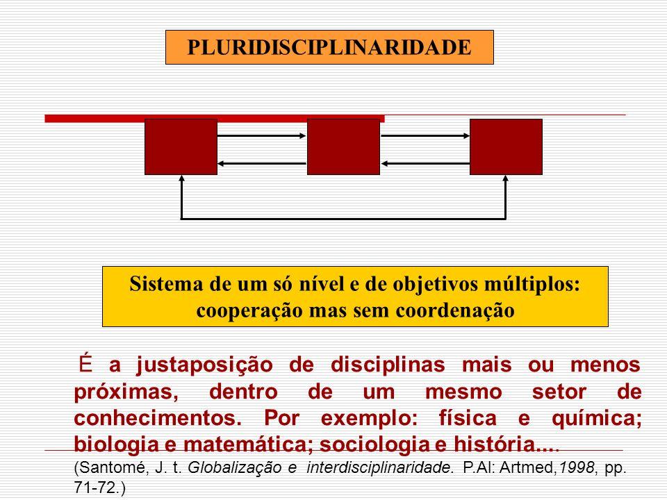 PLURIDISCIPLINARIDADE Sistema de um só nível e de objetivos múltiplos: cooperação mas sem coordenação É a justaposição de disciplinas mais ou menos pr