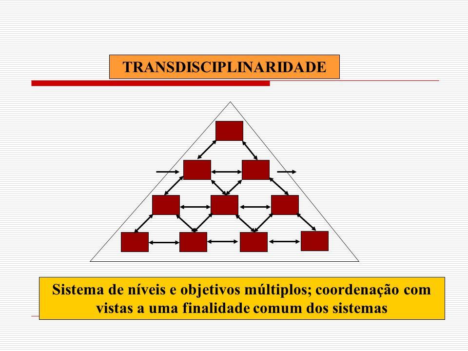 TRANSDISCIPLINARIDADE Sistema de níveis e objetivos múltiplos; coordenação com vistas a uma finalidade comum dos sistemas