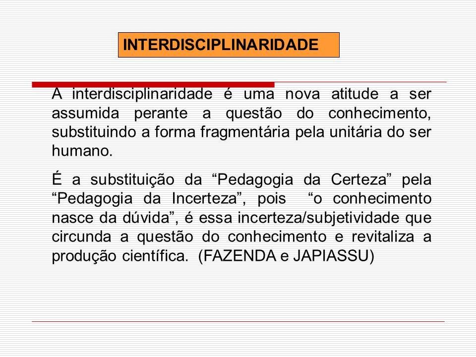 INTERDISCIPLINARIDADE A interdisciplinaridade é uma nova atitude a ser assumida perante a questão do conhecimento, substituindo a forma fragmentária p