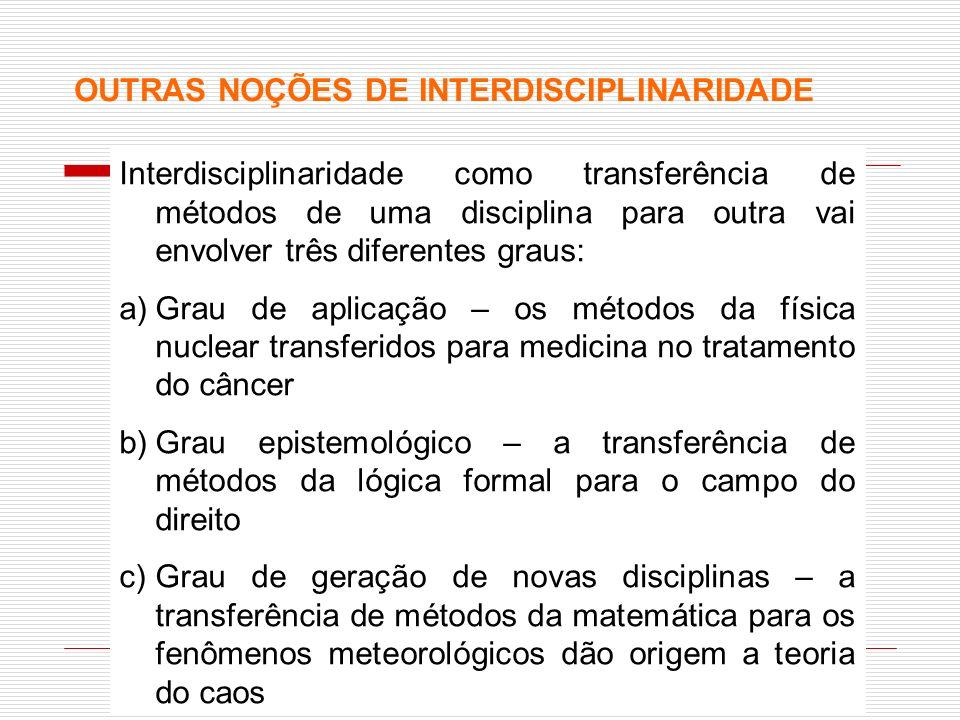 OUTRAS NOÇÕES DE INTERDISCIPLINARIDADE Interdisciplinaridade como transferência de métodos de uma disciplina para outra vai envolver três diferentes g