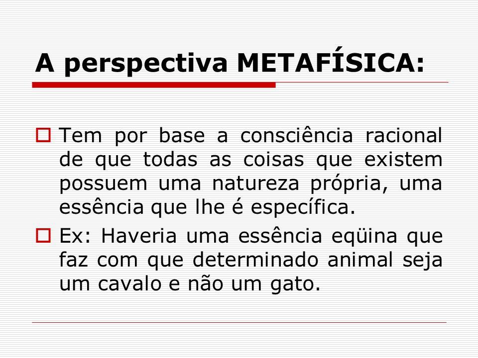 A perspectiva METAFÍSICA: Tem por base a consciência racional de que todas as coisas que existem possuem uma natureza própria, uma essência que lhe é