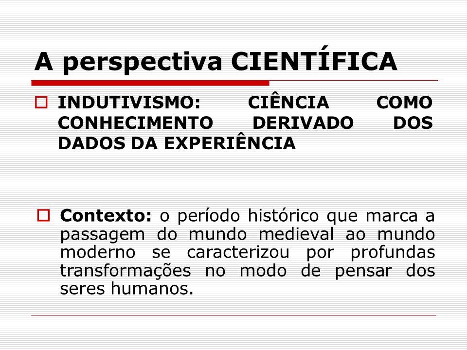 A perspectiva CIENTÍFICA INDUTIVISMO: CIÊNCIA COMO CONHECIMENTO DERIVADO DOS DADOS DA EXPERIÊNCIA Contexto: o período histórico que marca a passagem d