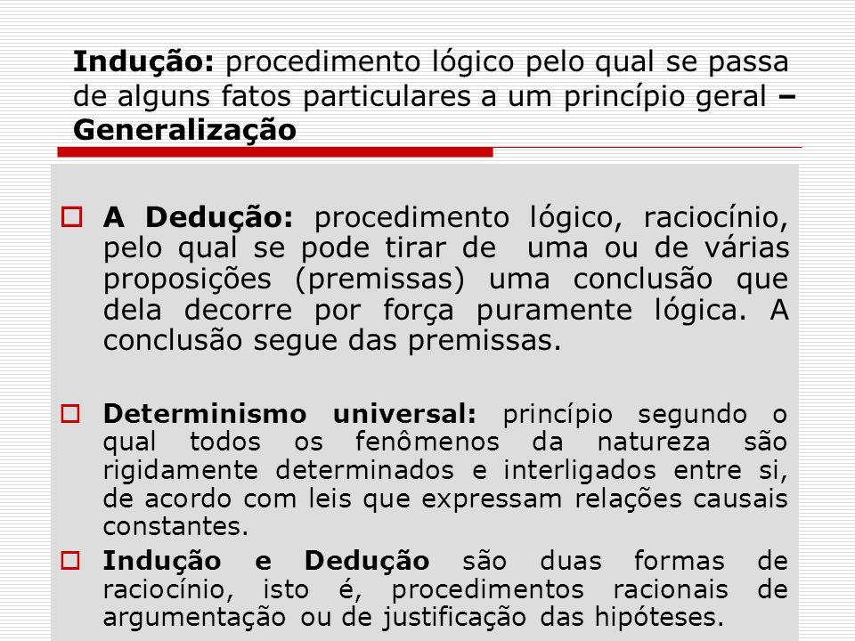 Indução: procedimento lógico pelo qual se passa de alguns fatos particulares a um princípio geral – Generalização A Dedução: procedimento lógico, raci
