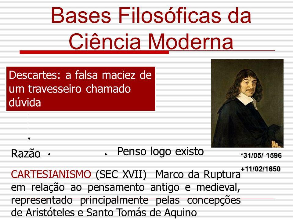 Bases Filosóficas da Ciência Moderna Descartes: a falsa maciez de um travesseiro chamado dúvida Razão Penso logo existo CARTESIANISMO (SEC XVII) Marco