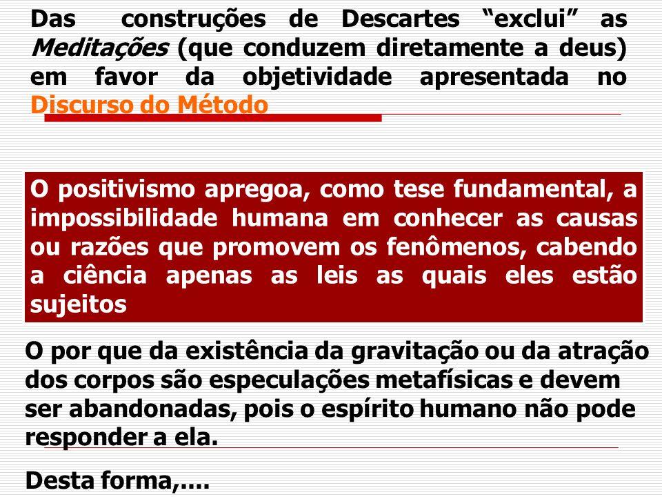 Das construções de Descartes exclui as Meditações (que conduzem diretamente a deus) em favor da objetividade apresentada no Discurso do Método O posit