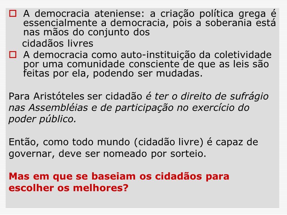 A democracia ateniense: a criação política grega é essencialmente a democracia, pois a soberania está nas mãos do conjunto dos cidadãos livres A democ