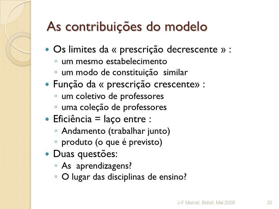 As contribuições do modelo Os limites da « prescrição decrescente » : um mesmo estabelecimento um modo de constituição similar Função da « prescrição
