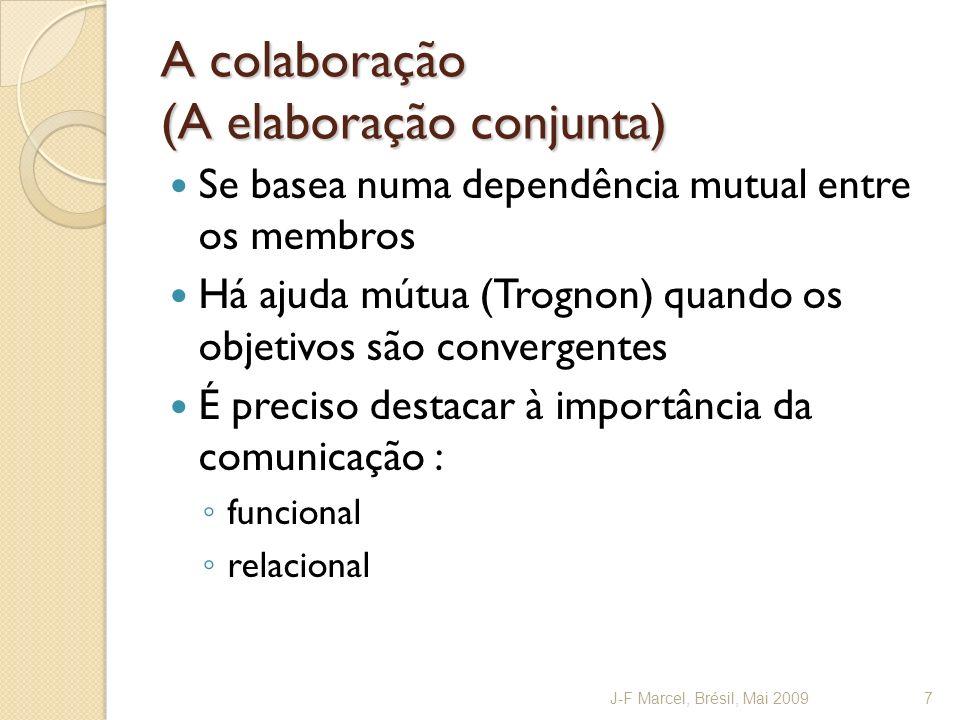 A colaboração (A elaboração conjunta) Se basea numa dependência mutual entre os membros Há ajuda mútua (Trognon) quando os objetivos são convergentes