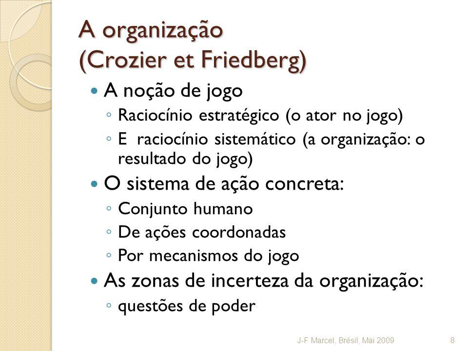 A coordenação (Mintzberg) 6 mecanismos de coordenação das tarefas: Ajuste mutual, Supervisão direta, Padronização dos procedimentos de trabalho, dos resultados, das qualificações, Do conhecimento e das normas Distinção (Trognon) : Coordenação prescrita (heterônimo) Coordenação real (contextual) importante quando existe um « coordenador oficial » : professor principal, coordenador de curso J-F Marcel, Brésil, Mai 20099