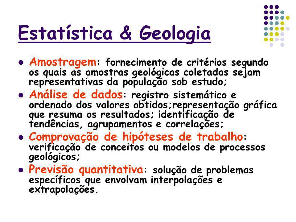 Estatística & Geologia Amostragem : fornecimento de critérios segundo os quais as amostras geológicas coletadas sejam representativas da população sob