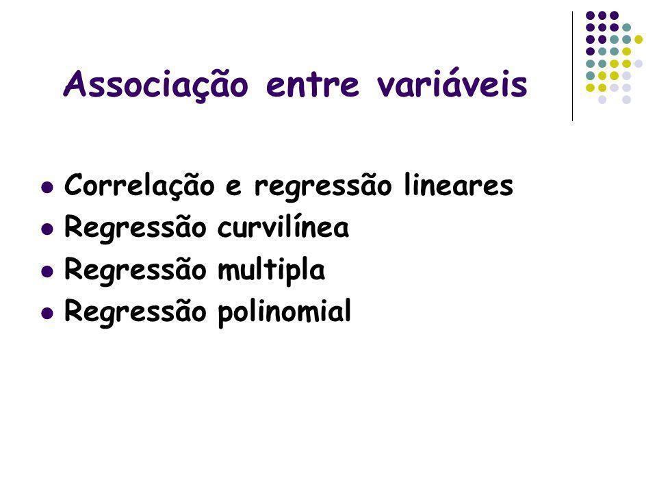 Associação entre variáveis Correlação e regressão lineares Regressão curvilínea Regressão multipla Regressão polinomial