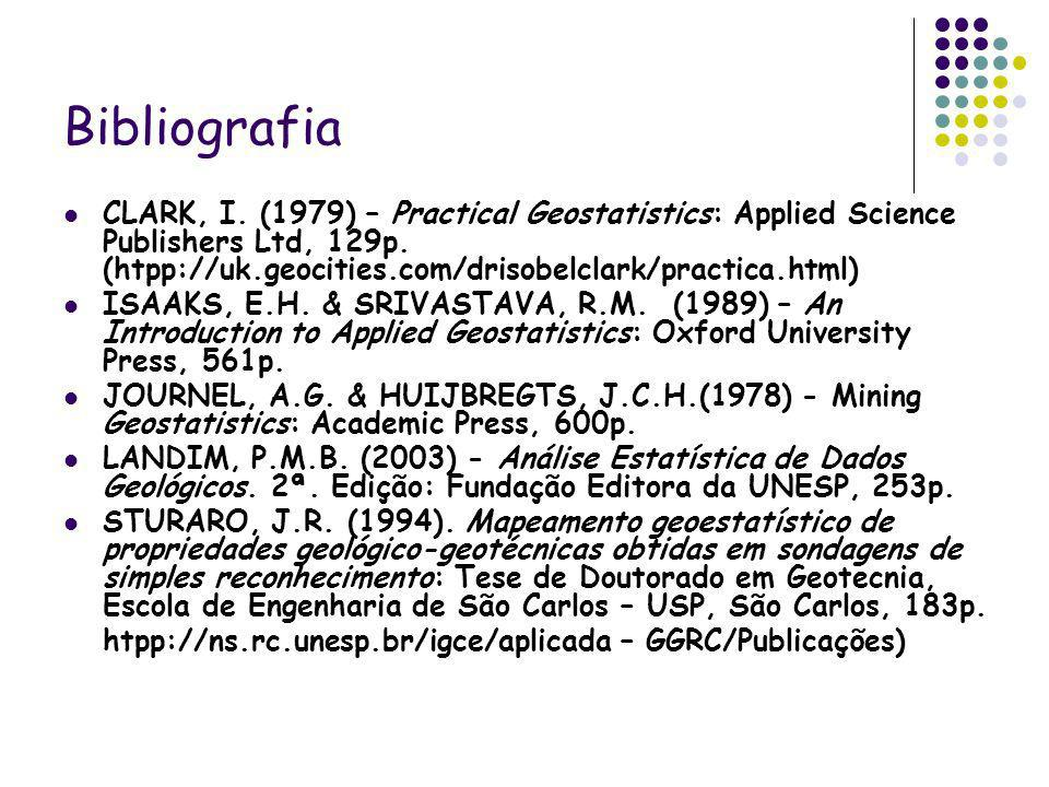 Bibliografia CLARK, I. (1979) – Practical Geostatistics: Applied Science Publishers Ltd, 129p. (htpp://uk.geocities.com/drisobelclark/practica.html) I