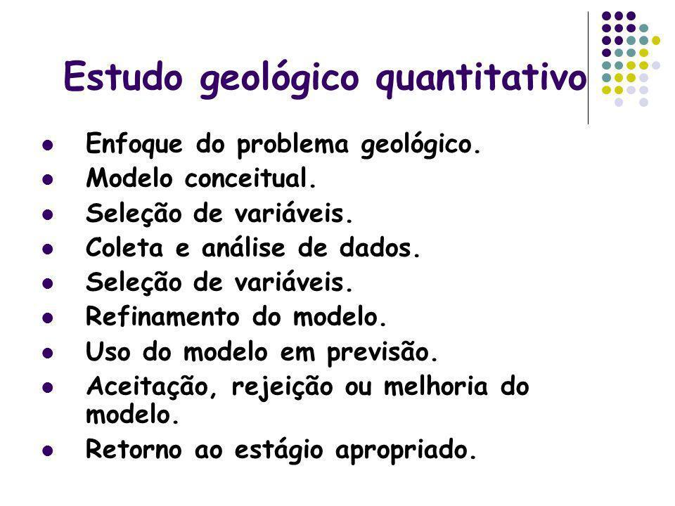 Estudo geológico quantitativo Enfoque do problema geológico. Modelo conceitual. Seleção de variáveis. Coleta e análise de dados. Seleção de variáveis.