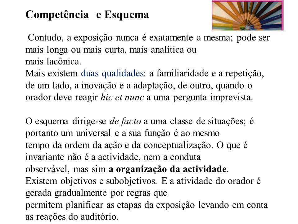 Competência e Esquema Contudo, a exposição nunca é exatamente a mesma; pode ser mais longa ou mais curta, mais analítica ou mais lacônica. Mais existe