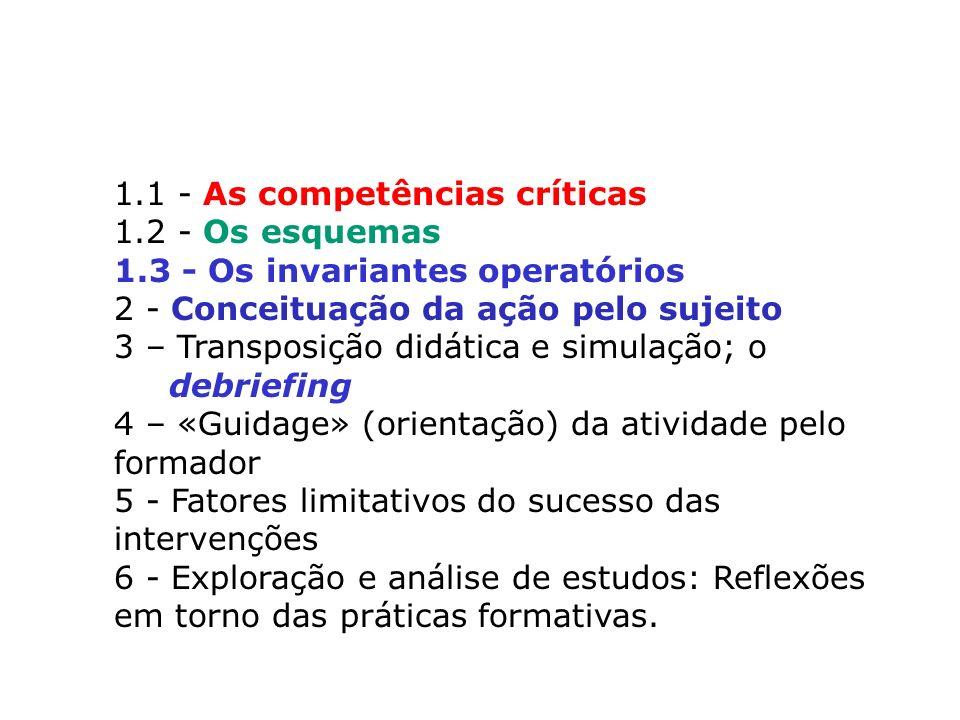 1.1 - As competências críticas 1.2 - Os esquemas 1.3 - Os invariantes operatórios 2 - Conceituação da ação pelo sujeito 3 – Transposição didática e si