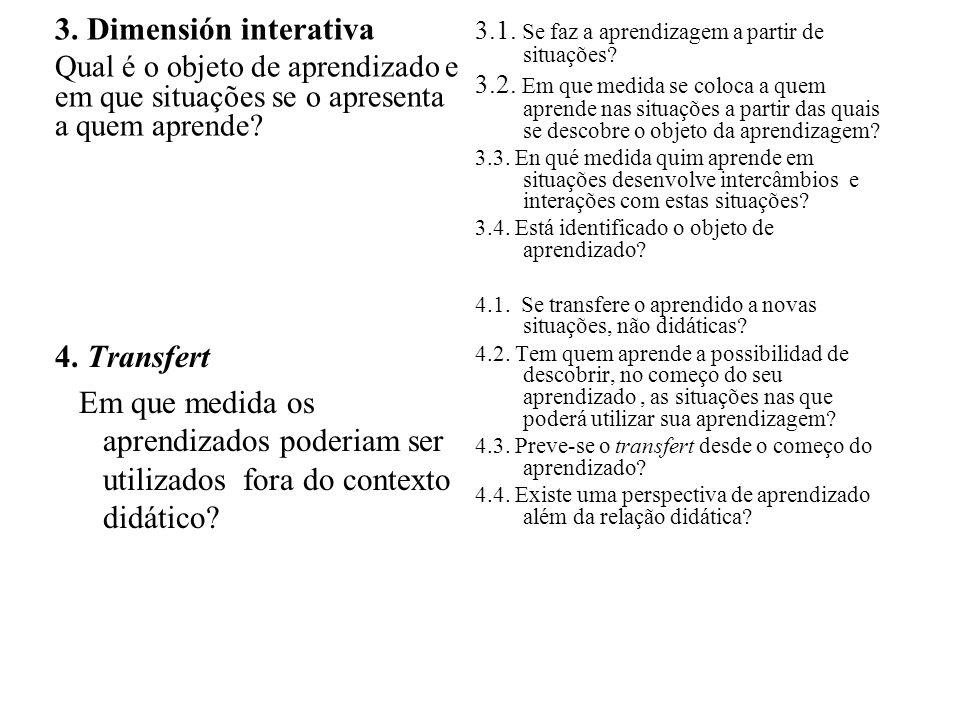 3. Dimensión interativa Qual é o objeto de aprendizado e em que situações se o apresenta a quem aprende? 4. Transfert Em que medida os aprendizados po