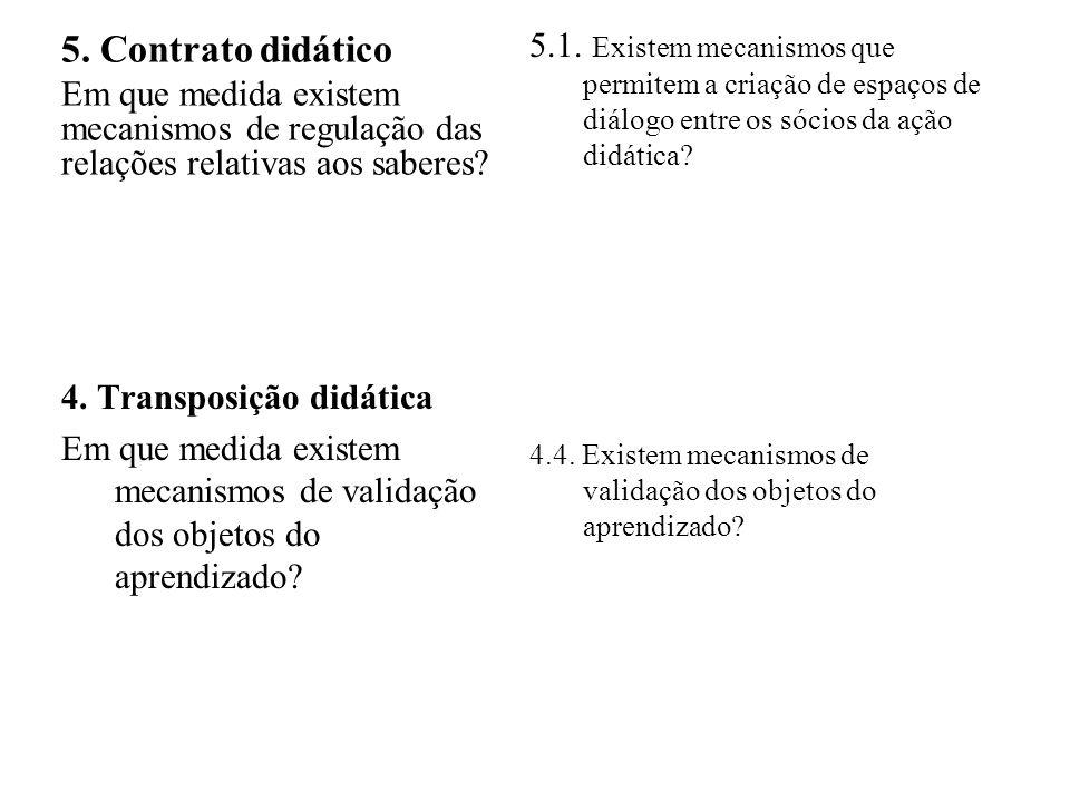 5. Contrato didático Em que medida existem mecanismos de regulação das relações relativas aos saberes? 4. Transposição didática Em que medida existem