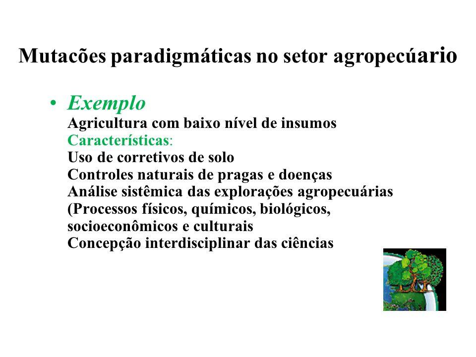 Mutacões paradigmáticas no setor agropecúario Exemplo Agricultura convencional (com rotações) Agricultura contínua Características: Impossibilidade do