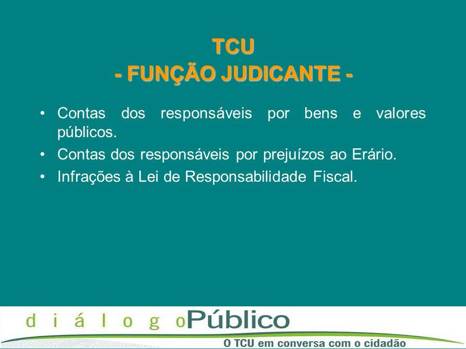 TCU - FUNÇÃO JUDICANTE - Contas dos responsáveis por bens e valores públicos. Contas dos responsáveis por prejuízos ao Erário. Infrações à Lei de Resp