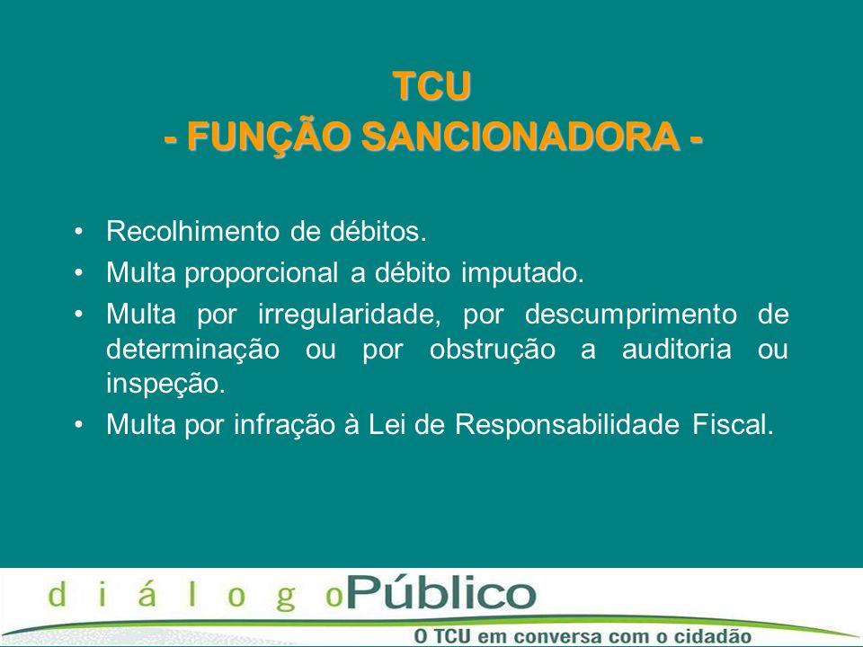 TCU - FUNÇÃO SANCIONADORA - Recolhimento de débitos. Multa proporcional a débito imputado. Multa por irregularidade, por descumprimento de determinaçã