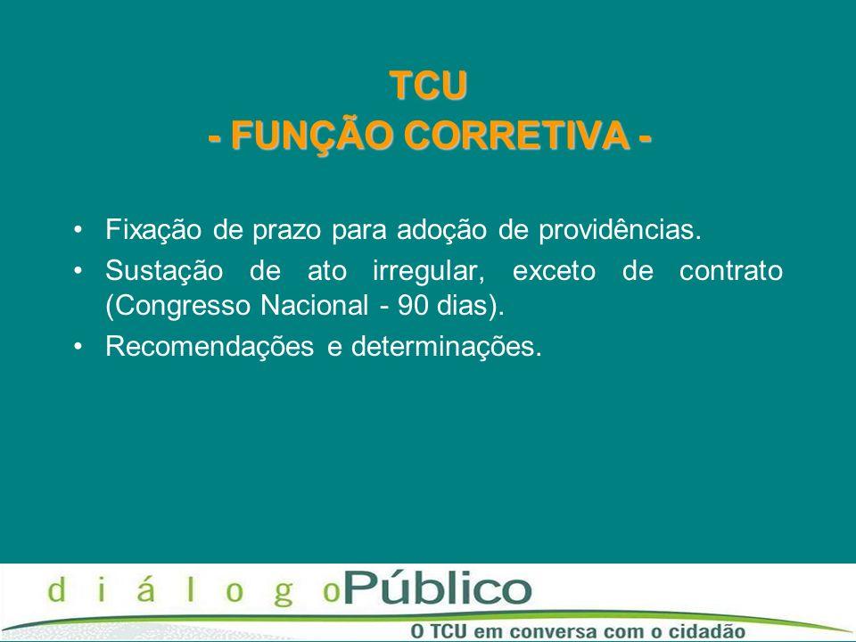 TCU - FUNÇÃO CORRETIVA - Fixação de prazo para adoção de providências. Sustação de ato irregular, exceto de contrato (Congresso Nacional - 90 dias). R