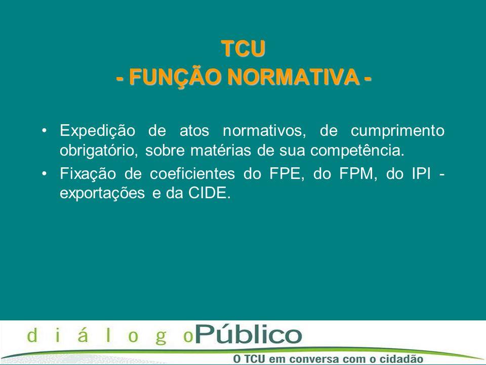 TCU - FUNÇÃO NORMATIVA - Expedição de atos normativos, de cumprimento obrigatório, sobre matérias de sua competência. Fixação de coeficientes do FPE,
