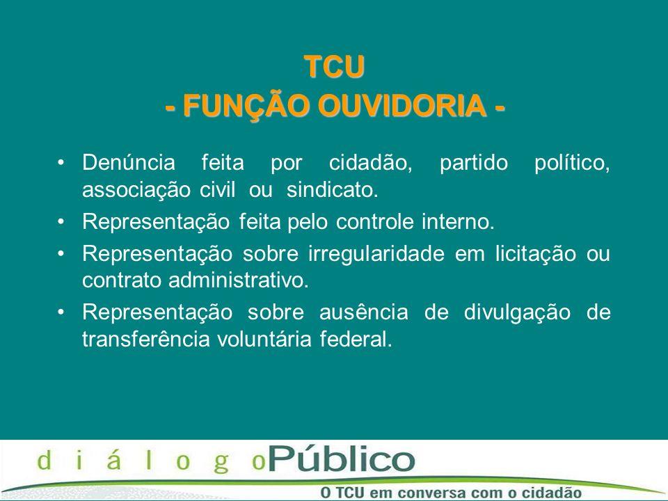 TCU - FUNÇÃO OUVIDORIA - Denúncia feita por cidadão, partido político, associação civil ou sindicato. Representação feita pelo controle interno. Repre